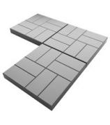 Плитка тротуарная 400х400х45 8 кирпичей серый